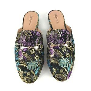 Merona |  Tapestry Mule Flats w/Gold Buckle